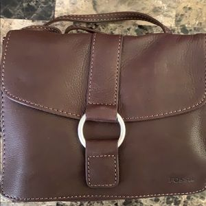 Fossil leather purse with multiple compartments